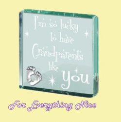 Grandparents Themed Glass Pewter Motif Square Paper Weight Souvenir