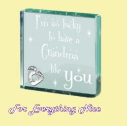 Grandma Themed Glass Pewter Motif Square Paper Weight Souvenir
