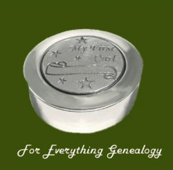 Stars My First Curl Motif Round Child Stylish Pewter Keepsake Box