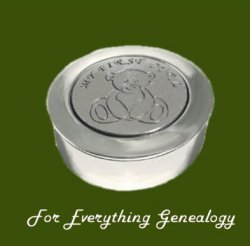 Teddy Bear My First Curl Motif Round Child Stylish Pewter Keepsake Box