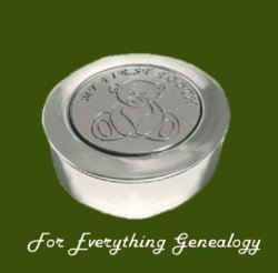 Teddy Bear My First Tooth Motif Round Child Stylish Pewter Keepsake Box