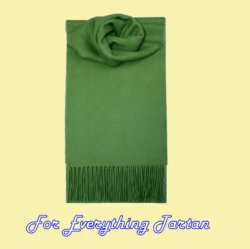 Apple Green Solid Lambswool Fringed Scarf