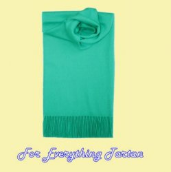 Aqua Turquoise Solid Lambswool Fringed Scarf