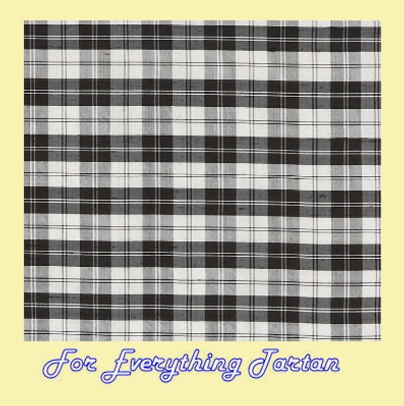 Image 0 of Erskine Black White Mini Tartan Dupion Silk Plaid Fabric x 1 metre