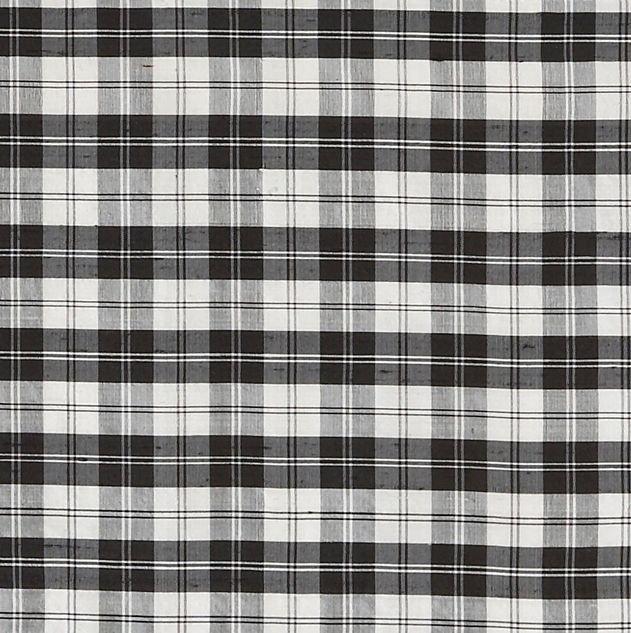 Image 1 of Erskine Black White Mini Tartan Dupion Silk Plaid Fabric x 1 metre