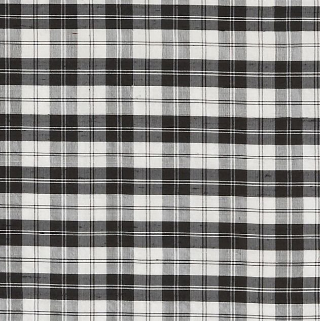 Image 1 of Erskine Black White Mini Tartan Dupion Silk Plaid Fabric Swatch