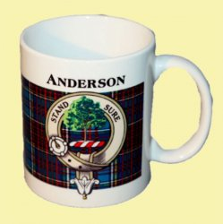 Anderson Tartan Clan Crest Ceramic Mugs Anderson Clan Badge Mugs Set of 2