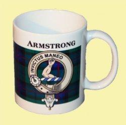 Armstrong Tartan Clan Crest Ceramic Mugs Armstrong Clan Badge Mugs Set of 2