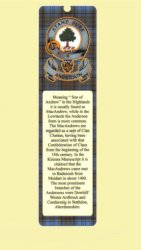Anderson Clan Badge Clan Anderson Tartan Laminated Bookmark