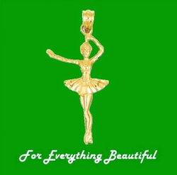 Ballerina Dancer Figure Satin Polished 14K Yellow Gold Pendant Charm