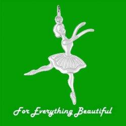 Ballerina Dance Satin Polished 14K White Gold Pendant Charm