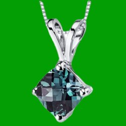 Alexandrite Cushion Cut 14K White Gold Pendant