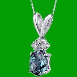 Alexandrite Oval Cut Diamond Accent 14K White Gold Pendant