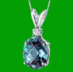 Alexandrite Oval Shape Diamond Accent 14K White Gold Pendant