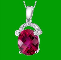 Red Ruby Oval Checkerboard Diamond Accent 14K White Gold Pendant