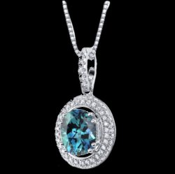 Alexandrite Oval Cut Halo Cubic Zirconia Accent Sterling Silver Pendant