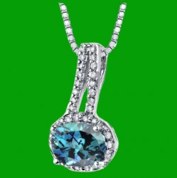 Alexandrite Oval Cut Diamond Border 14K White Gold Pendant