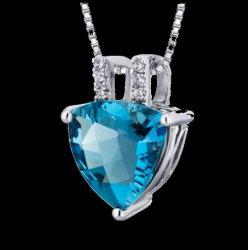 London Blue Topaz Trillion Cut Cubic Zirconia Accent Sterling Silver Pendant