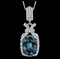Alexandrite Cushion Cut Cubic Zirconia Tied Knot Sterling Silver Pendant