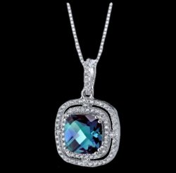Alexandrite Cushion Cut Cubic Zirconia Accent Sterling Silver Pendant