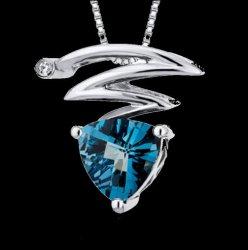 London Blue Topaz Trillion Twist Cubic Zirconia Accent Sterling Silver Pendant