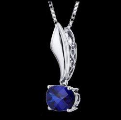 Blue Sapphire Oval Cut Fancy Design Sterling Silver Pendant