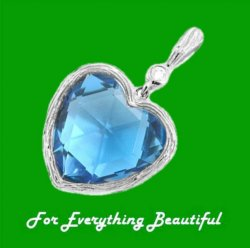 Blue Topaz Heart Checkerboard Cut Diamond Accent 14K White Gold Pendant