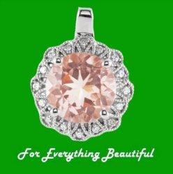 Morganite Round Cut Floral Diamond Accent 14K White Gold Pendant