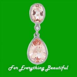Morganite Oval Pear Drop Diamond Accent 14K White Gold Pendant