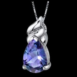 Alexandrite Pear Cut Abstract Detail Sterling Silver Pendant