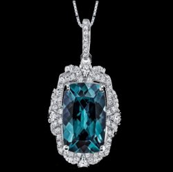 Alexandrite Cushion Cut Cubic Zirconia Framed Gallery Sterling Silver Pendant