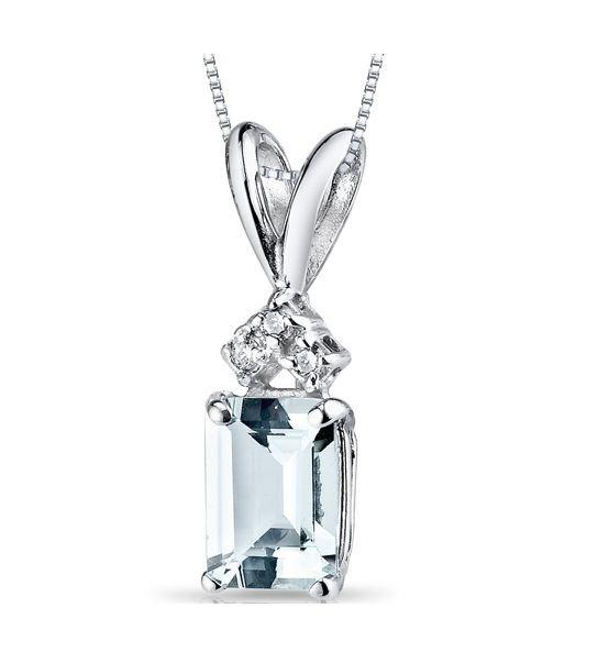 Image 1 of Aquamarine Radiant Cut Diamond Accent 14K White Gold Pendant