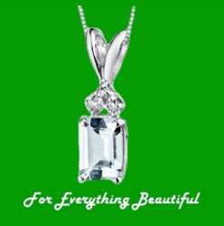 Aquamarine Radiant Cut Diamond Accent 14K White Gold Pendant