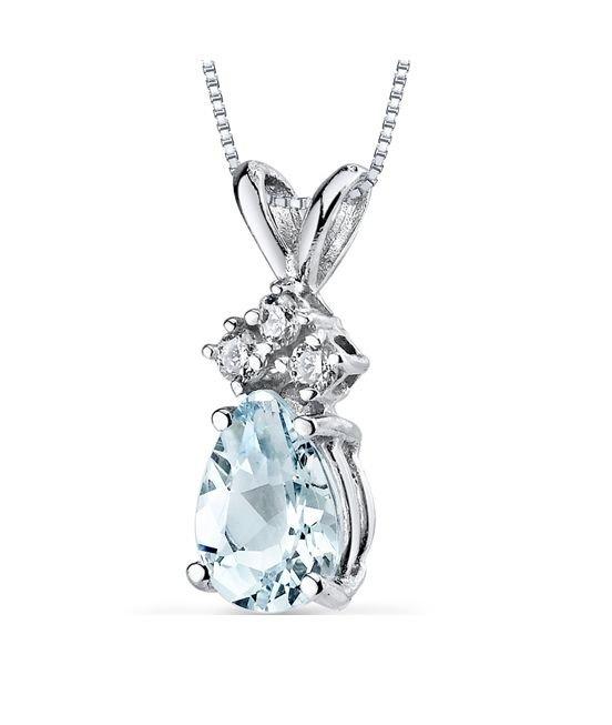 Image 1 of Aquamarine Pear Cut Diamond Accent 14K White Gold Pendant