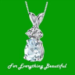Aquamarine Pear Cut Diamond Accent 14K White Gold Pendant