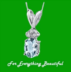 Aquamarine Oval Cut Diamond Accent 14K White Gold Pendant