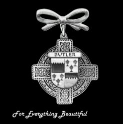 Celtic Cross Bow Irish Coat of Arms Sterling Silver Brooch