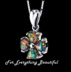 Black Opal Heart Cut Lucky Clover Sterling Silver Pendant