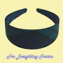 Black Watch Modern Tartan Lightweight Fabric Wide Hair Band Headband
