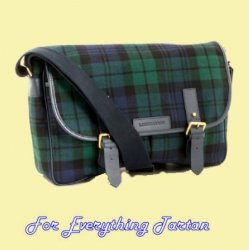 Black Watch Modern Tartan Fabric Leather Large Satchel Shoulder Bag