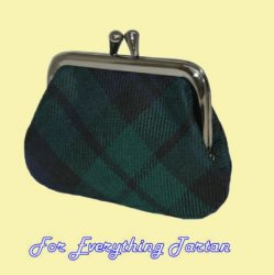Black Watch Modern Tartan Fabric Framed Small Ladies Coin Purse