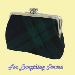 Black Watch Modern Tartan Fabric Framed Medium Ladies Double Purse