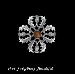Thistle Snowflake Cairngorm Antiqued Medium Sterling Silver Brooch