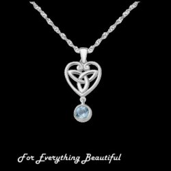 Blue Topaz Drop Heart Celtic Trinity Knot Sterling Silver Pendant