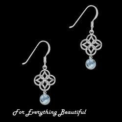 Blue Topaz Endless Celtic Knotwork Sterling Silver Earrings