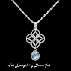 Blue Topaz Endless Celtic Knotwork Sterling Silver Pendant