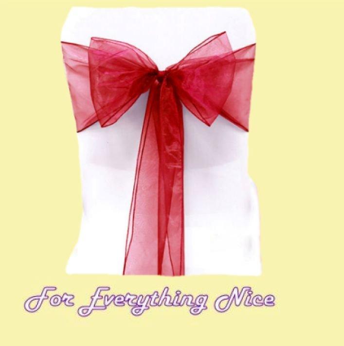 Dark Red Organza Wedding Chair Sash Ribbon Bow Decorations