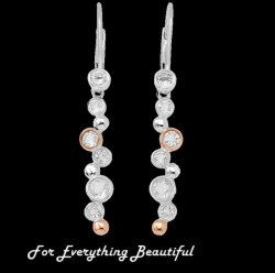 Celebration White Topaz Drop Welsh Rose Gold Detail Sterling Silver Earrings