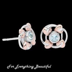 Love Vine Aquamarine Welsh Rose Gold Detail Sterling Silver Earrings