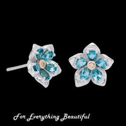 Forget Me Not Flower Topaz Welsh Rose Gold Detail Sterling Silver Earrings